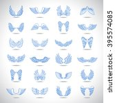 wings icons set isolated on... | Shutterstock .eps vector #395574085