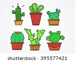 set of cartoon cute cacti  | Shutterstock .eps vector #395577421