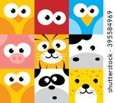 Square Animal Face Icon Button...