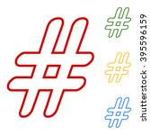hashtag sign. set of line icons | Shutterstock .eps vector #395596159