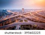 city interchange closeup at... | Shutterstock . vector #395602225