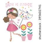 beautiful girl with umbrella in ... | Shutterstock .eps vector #395602741