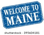 welcome to maine blue square... | Shutterstock .eps vector #395604181