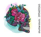 vector color skull roses... | Shutterstock .eps vector #395605261