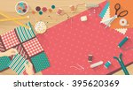 seamstress working with... | Shutterstock .eps vector #395620369