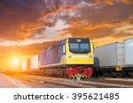 cargo train platform at sunset... | Shutterstock . vector #395621485