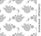 black and white pattern flowers ... | Shutterstock . vector #395626411