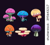 fantastic mushrooms colorful... | Shutterstock .eps vector #395643217