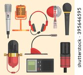 microphone flat style vector...   Shutterstock .eps vector #395646595