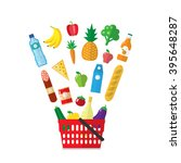shopping basket with food... | Shutterstock .eps vector #395648287