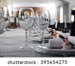 Details of a wedding table with cutlery - stock photo