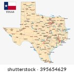 texas road map with flag | Shutterstock .eps vector #395654629