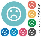 flat sad emoticon icon set on...