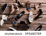 different female shoes on floor....   Shutterstock . vector #395680789