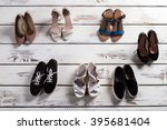 heel shoes and casual keds.... | Shutterstock . vector #395681404