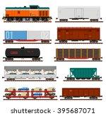 vector set of train cargo... | Shutterstock .eps vector #395687071