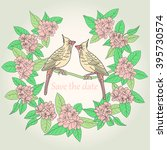 save the date. card with birds... | Shutterstock .eps vector #395730574