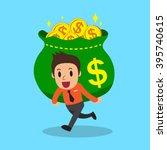 cartoon businessman carrying... | Shutterstock .eps vector #395740615