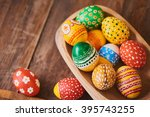 easter eggs hand painted on... | Shutterstock . vector #395743255