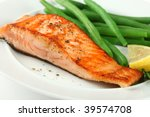 Closeup of Grilled Salmon Fillet with Green Beans Plate - stock photo