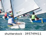 group of children on sailing... | Shutterstock . vector #395749411