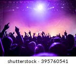 silhouettes of concert crowd in ... | Shutterstock . vector #395760541