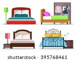 colorful graphic set of beds... | Shutterstock .eps vector #395768461