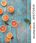 Blood Oranges. Halved Blood...
