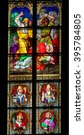 Small photo of COLOGNE, GERMANY - APRIL 21, 2010: Stained Glass depicting the Stoning of Saint Stephen in Dom of Cologne, Germany.