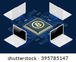 block chain concept. bitcoin... | Shutterstock .eps vector #395785147
