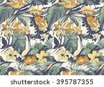 tropical pattern.seamless .... | Shutterstock .eps vector #395787355