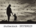 concept of refugee. silhouette... | Shutterstock . vector #395789029