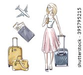 travel. luggage. girl walking... | Shutterstock . vector #395795215