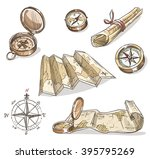 set of hand drawn compasses and ... | Shutterstock . vector #395795269