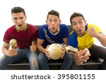 three friends sitting on sofa... | Shutterstock . vector #395801155