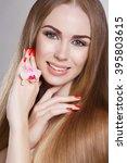 beauty woman portrait blonde... | Shutterstock . vector #395803615