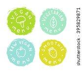 set of vegan  vegetarian badges....   Shutterstock .eps vector #395829871