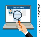 search social profile. laptop... | Shutterstock . vector #395837269
