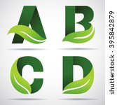 vector green alphabet set of... | Shutterstock .eps vector #395842879