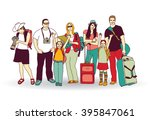 group tourists people color... | Shutterstock .eps vector #395847061