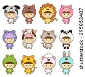 set of kids in cute animals... | Shutterstock .eps vector #395852407