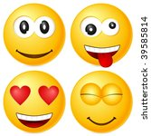 four emoticons isolated on... | Shutterstock .eps vector #39585814