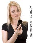 pretty blond woman talking on... | Shutterstock . vector #3958789
