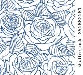rose blue pattern. floral... | Shutterstock .eps vector #395882581