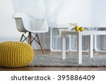 yellow pouf  white armchair and ... | Shutterstock . vector #395886409