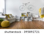wooden parquet in big living... | Shutterstock . vector #395892721