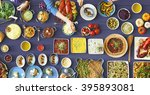 food festive restaurant party... | Shutterstock . vector #395893081