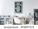 tidy hipster stylish office... | Shutterstock . vector #395897215
