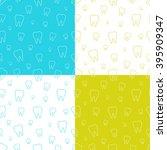set of dental seamless patterns ... | Shutterstock .eps vector #395909347