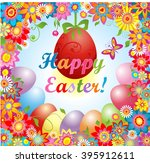 easter greeting with flowers... | Shutterstock .eps vector #395912611